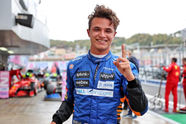 Pole man Lando Norris, McLaren, celebrates