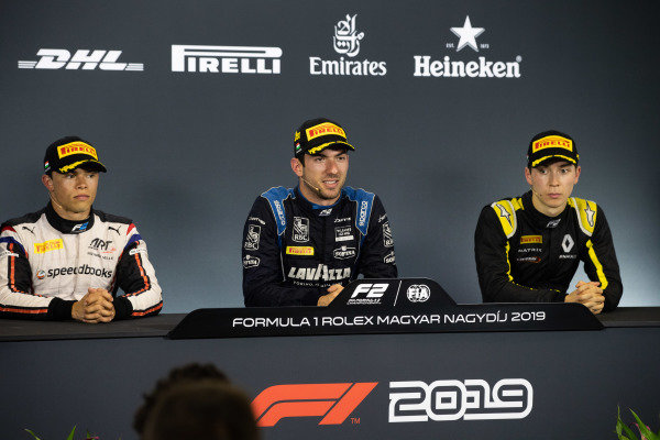 HUNGARORING, HUNGARY - AUGUST 03: Nicholas Latifi (CAN, DAMS) Nyck De Vries (NLD, ART GRAND PRIX) and Jack Aitken (GBR, CAMPOS RACING) during the Hungaroring at Hungaroring on August 03, 2019 in Hungaroring, Hungary. (Photo by Joe Portlock / LAT Images / FIA F2 Championship)