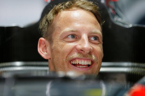 Sepang International Circuit, Sepang, Kuala Lumpur, Malaysia. Thursday 26 March 2015. Jenson Button, McLaren, in the garage. World Copyright: Steven Tee/LAT Photographic. ref: Digital Image _L4R3289