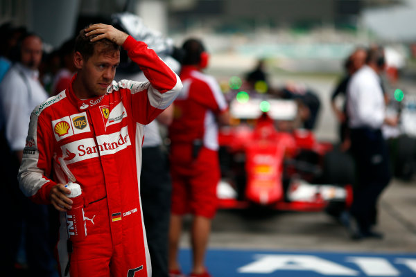Sepang International Circuit, Sepang, Kuala Lumpur, Malaysia. Saturday 28 March 2015. Sebastian Vettel, Ferrari. World Copyright: Andrew Hone/LAT Photographic. ref: Digital Image _ONZ9970