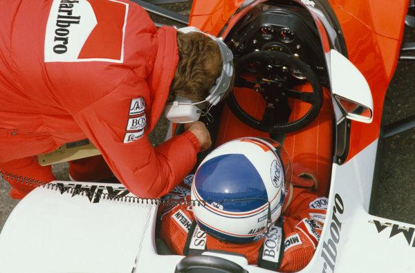 1984 French Grand Prix. Dijon-Prenois, France. 18th - 20th May 1984.  Alain Prost (McLaren MP4/2-TAG Porsche), 7th position, cockpit, portrait. World Copyright: LAT Photographic. Ref:  84 FRA a
