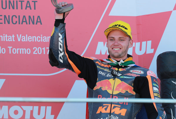 2017 Moto2 Championship - Round 18 Valencia, Spain  Sunday 12 November 2017 Podium: Brad Binder, Red Bull KTM Ajo  World Copyright: Gold and Goose Photography/LAT Images  ref: Digital Image 706058
