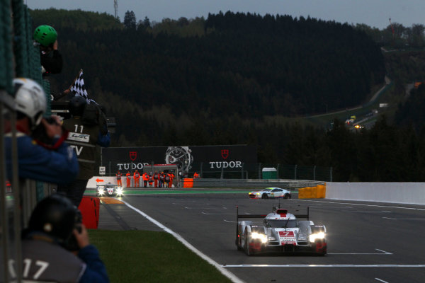 2015 FIA World Endurance Championship, Spa-Francorchamps, Belgium. 30th April - 2nd May 2015. Marcel Fassler / Andre Lotterer / Benoit Treluyer Audi Sport Team Joest Audi R18 e-tron quattro. World Copyright: Ebrey / LAT Photographic.