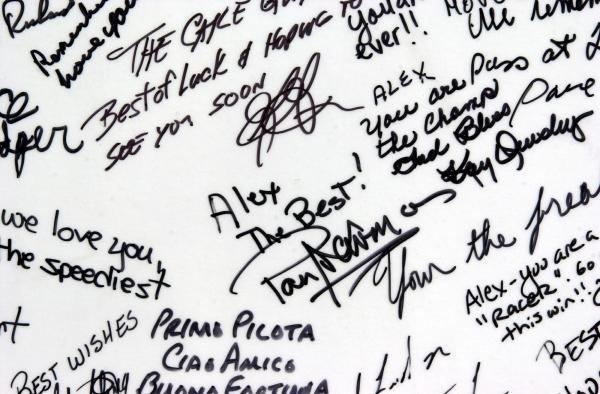 Paul Newman was amongst a host of CART personalities who signed the Firestone get well card for Alex Zanardi.CART World Series, Laguna Seca,USA, 14 October 2001