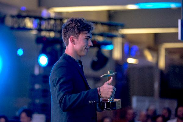 2016 GP2/3 Awards Evening. Yas Marina Circuit, Abu Dhabi, United Arab Emirates. Sunday 27 November 2016. Pierre Gasly (FRA, PREMA Racing)  Photo: Zak Mauger/GP2 Series Media Service/GP3 Series Media Service. ref: Digital Image _X0W9832