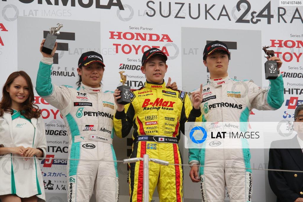 2014 All-Japan F3 Championship Suzuka, Japan. 12th - 13th April 2014. Rd 1. Race 2 - Winner Mitsunori Takaboshi ( #22 B-MAX Racing Team with NDDP ) 2nd position Takamoto Katsuata ( #1 PETRONAS TEAM TOM'S ) 3rd position Kenta Yamashita ( #36 PETRONAS TEAM TOM'S ) podium, portrait World Copyright: Yasushi Ishihara / LAT Photographic. Ref: 2014JF3_Rd2_008.JPG