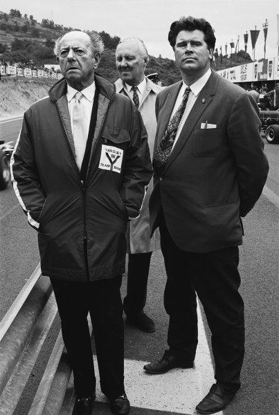 1971 Formula One World Championship. Tim Parnell, Yardley BRM team manager with BRM founder Raymond Mays, portrait.  World Copyright: LAT Photographic. Ref:  B/WPRINT.