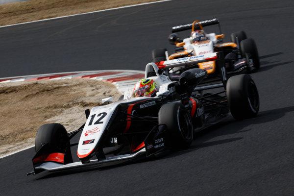 2017 Japanese Formula 3 Championship. Okayama, Japan. 1st - 2nd April 2017. Rd 1, 2 & 3. Rd.3 2nd position Alex Palou ( #12 Three Bond Racing with DRAGO CORSE ) action World Copyright: Masaaki Kitagawa / LAT Images. Ref: 2017JF3_Rd1_3_016