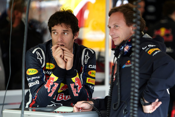 Silverstone, Northamptonshire, England 8th July 2011 Mark Webber, Red Bull Racing RB7 Renault, with Christian Horner, Team Principal, Red Bull Racing. Portrait.  World Copyright: Steve Etherington/LAT Photographic ref: Digital Image F72E9431