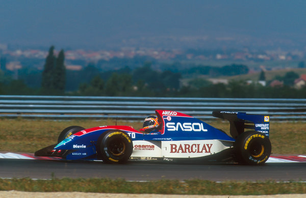 1993 Hungarian Grand Prix.Hungaroring, Budapest, Hungary.13-15 August 1993.Thierry Boutsen (Jordan 193 Hart) 9th position.Ref-93 HUN 09.World Copyright - LAT Photographic