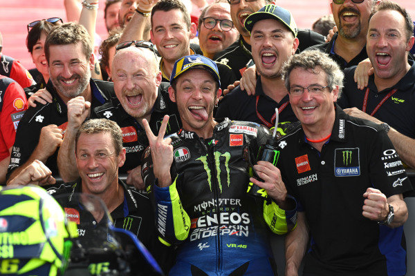 Second place Valentino Rossi, Yamaha Factory Racing celebrates in parc ferme.