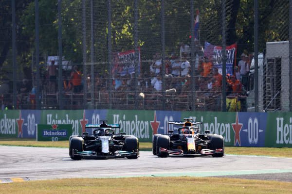 Sir Lewis Hamilton, Mercedes W12, battles with Max Verstappen, Red Bull Racing RB16B