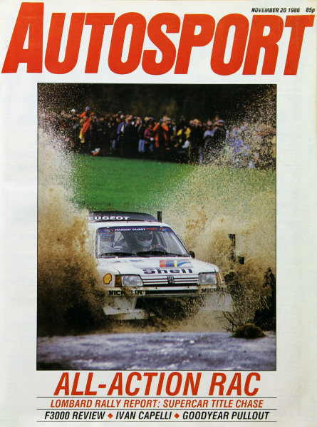 Cover of Autosport magazine, 20th November 1986