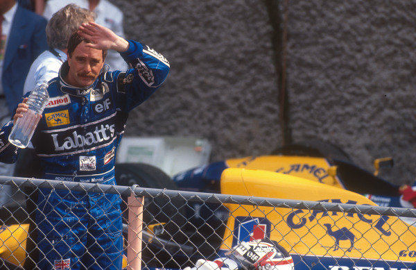 1992 Mexican Grand Prix.Mexico City, Mexico.20-22 March 1992.Nigel Mansell (Williams Renault) 1st position in parc ferme.Ref-92 MEX 12.World Copyright - LAT Photographic