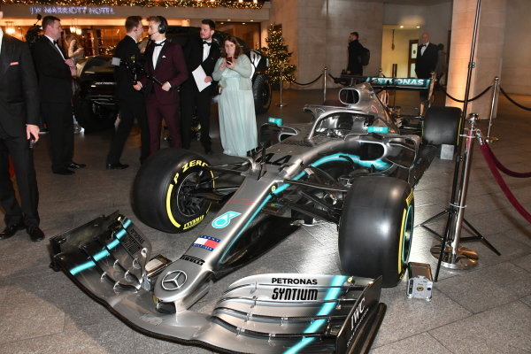 Mercedes AMG F1 W10 of Lewis Hamilton on display