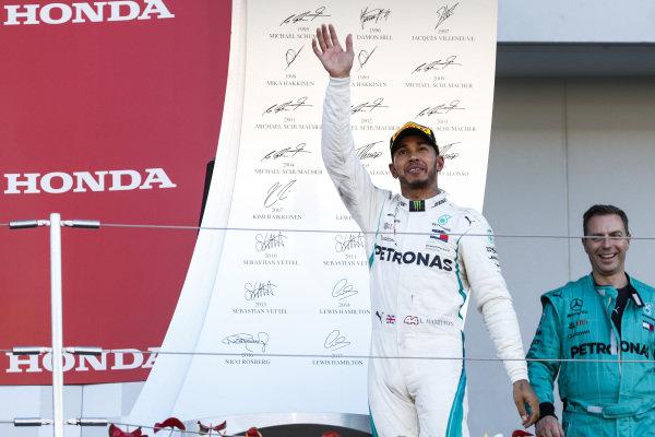 Lewis Hamilton, Mercedes AMG F1, 1st position, arrives on the podium