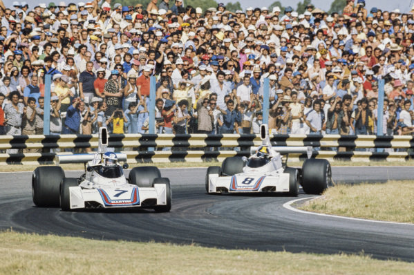 Carlos Reutemann, Brabham BT44B Ford leads Carlos Pace, Brabham BT44B Ford.