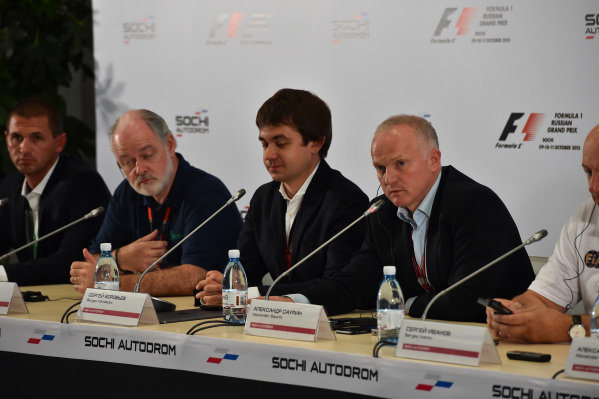 (L to R): Dmitry Pleshalov (RUS) Russian Automobile Ferderation Representative and and Head of Sochi Autodrom Department of NPJSC, Richard Cregan (IRL) Russian Grand Prix International Consultant, Sergey Vorobyev (RUS) Sochi Autodrom Deputy General Director and Alexander Saurin (RUS) Deputy Head of Administration of Krasnodar Krai, at Formula One World Championship, Rd15, Russian Grand Prix, Practice, Sochi Autodrom, Sochi, Krasnodar Krai, Russia, Friday 9 October 2015.