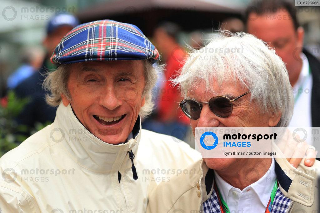 Jackie Stewart (GBR) and Bernie Ecclestone (GBR) at Formula One World Championship, Rd19, Brazilian Grand Prix, Qualifying, Interlagos, Sao Paulo, Brazil, Saturday 11 November 2017. BEST IMAGE