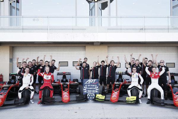 ART GP3 2018 Team Champions, Jake Hughes (GBR, ART Grand Prix) Nikita Mazepin (RUS, ART Grand Prix) Anthoine Hubert (FRA, ART Grand Prix) and Callum Ilott (GBR, ART Grand Prix)