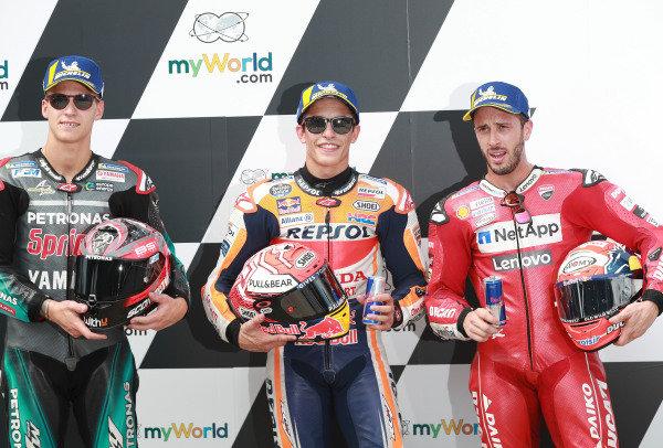 Polesitter Marc Marquez, Repsol Honda Team, second place Fabio Quartararo, Petronas Yamaha SRT, third place Andrea Dovizioso, Ducati Team