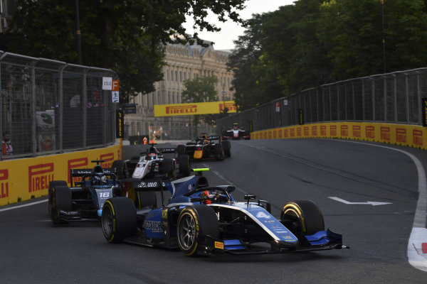Felipe Drugovich (BRA, Uni-Virtuosi), leads Roy Nissany (ISR, DAMS), and Christian Lundgaard (DNK, ART Grand Prix)