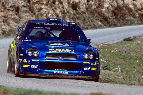 2002 World Rally ChampionshipTour De Corse, Corsica. 8th - 10th March 2002.Petter Solberg / Philip Mills, Subaru Impreza WRC, 5th position overall.World Copyright: McKlein/LAT Photographicref: 35mm Image 02 WRC 14