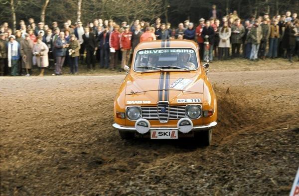 Simo Lampinen (FIN) Saab.Lombard RAC Rally, Great Britain, November 1973.