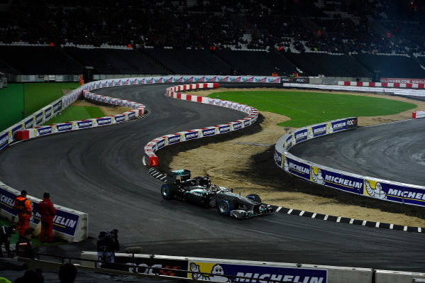 2015 Race Of Champions Olympic Stadium, London, UK Saturday 21 November 2015 The Mercedes AMG W06 Hybrid F1 in action Copyright Free FOR EDITORIAL USE ONLY. Mandatory Credit: 'IMP'
