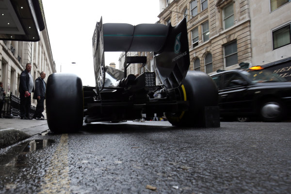 2015 British Racing Drivers Club Awards Grand Connaught Rooms, London Monday 7th December 2015 Lewis Hamilton's F1 Mercedes in the street outside the venue. World Copyright: Jakob Ebrey/LAT Photographic ref: Digital Image Mercedes-05