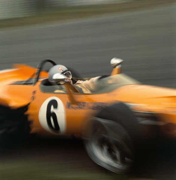 Silverstone, Great Britain. 19 July 1969.  Bruce McLaren (McLaren M7C-Ford Cosworth), 3rd position , action. World Copyright:  Ref: Racing Past. . Exhibition a010