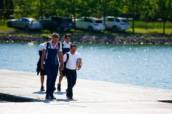 Circuit Gilles Villeneuve, Montreal, Canada. Thursday 08 June 2017. Lance Stroll, Williams Martini Racing, arrives at the circuit with colleagues. World Copyright: Andy Hone/LAT Images ref: Digital Image _ONY2171