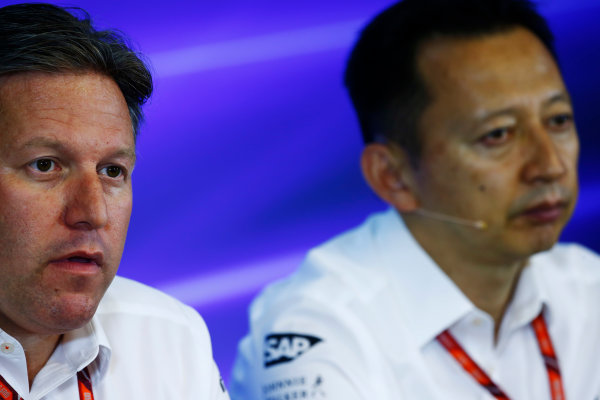 Spa Francorchamps, Belgium.  Friday 25 August 2017. Zak Brown, Executive Director, McLaren Technology Group, and Yusuke Hasegawa, Senior Managing Officer, Honda, in the Press Conference. World Copyright: Andy Hone/LAT Images  ref: Digital Image _ONZ9501