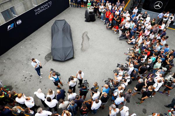 Autodromo Nazionale di Monza, Italy. Thursday 31 August 2017 The new F2 car in the paddock. Photo: Steven Tee/FIA Formula 2 ref: Digital Image _R3I1948
