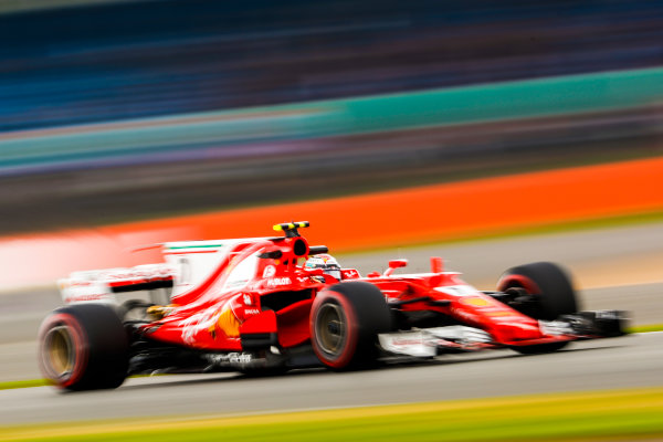 Silverstone, Northamptonshire, UK.  Friday 14 July 2017. Kimi Raikkonen, Ferrari SF70H. World Copyright: Glenn Dunbar/LAT Images  ref: Digital Image _X4I3479