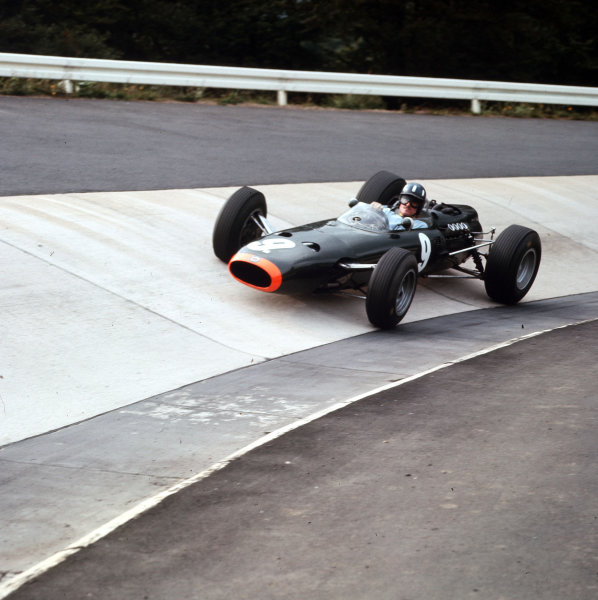 Nurburgring, Germany.30/7-1/8 1965.Graham Hill (BRM P261) 2nd position.Ref-3/1799.World Copyright - LAT Photographic