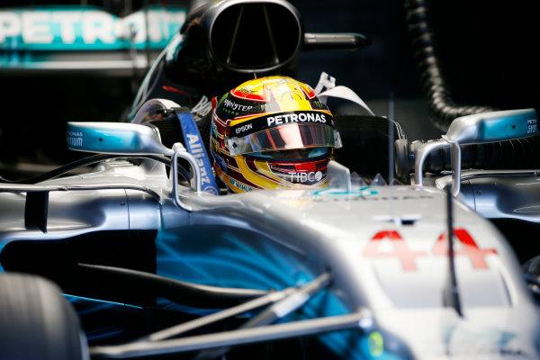 Sepang International Circuit, Sepang, Malaysia. Saturday 30 September 2017. Lewis Hamilton, Mercedes AMG, in cockpit. World Copyright: Zak Mauger/LAT Images  ref: Digital Image _X0W7637