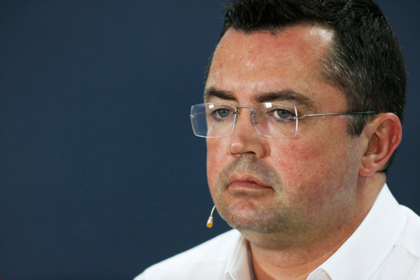 Bahrain International Circuit, Sakhir, Bahrain. Friday 17 April 2015. Eric Boullier, Racing Director, McLaren, in the Team Principals Press Conference. World Copyright: Alastair Staley/LAT Photographic. ref: Digital Image _79P3987