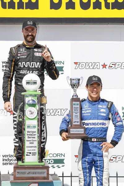 James Hinchcliffe, Schmidt Peterson Motorsports Honda, Takuma Sato, Rahal Letterman Lanigan Racing Honda, podium