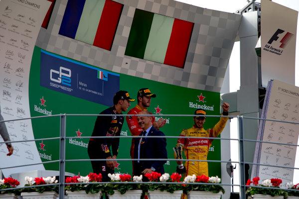 2016 GP2 Series Round 9. Autodromo Nazionale di Monza, Monza, Italy. Sunday 4 September 2016. Pierre Gasly (FRA, PREMA Racing), Norman Nato (FRA, Racing Engineering), Antonio Giovinazzi (ITA, PREMA Racing)  Photo: Zak Mauger/GP2 Series Media Service. ref: Digital Image _L0U6178