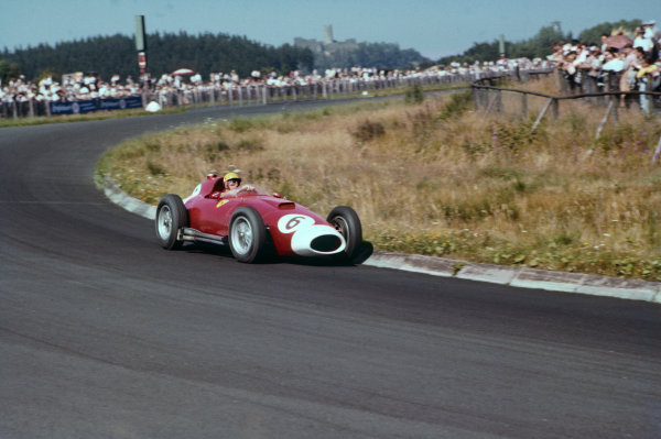 Nurburgring, Germany. 2-4 August 1957. Luigi Musso, Lancia-Ferrari D50 801, 4th position. Ref: 57GER02. World Copyright - LAT Photographic