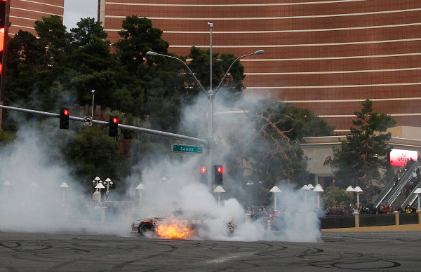 30 November - 2 December, 2011, Las Vegas, Nevada, USARyan Newman explodes his engine, bringing the fun to a close(c)2011, Michael L. LevittLAT Photo USA