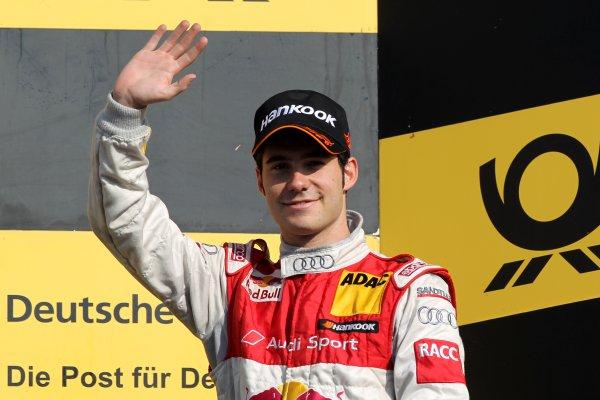 Miguel Molina (ESP), Audi Sport Team Abt Junior (3rd) celebrates third place on the podium.DTM, Rd10, Hockenheim, Germany, 22-23 October 2011 World Copyright: LAT Photographicref: Digital Image dne1123oc74