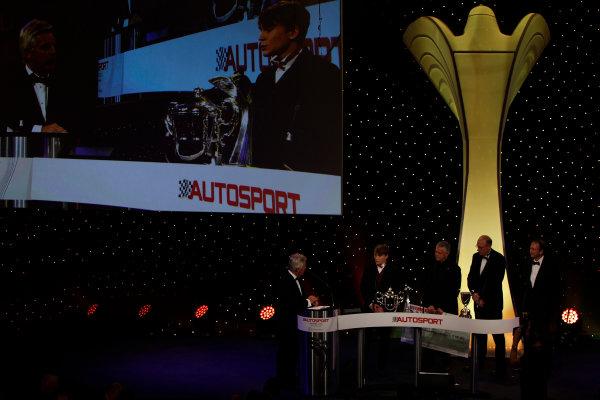 2013 Autosport Awards. Grosvenor House Hotel, Park Lane, London. Sunday 1st December 2013. Matt Parry, receives 2013 McLaren Autosport BRDC Award World Copyright: Glenn Dunbar/LAT Photographic. ref: Digital Image _G7C5772