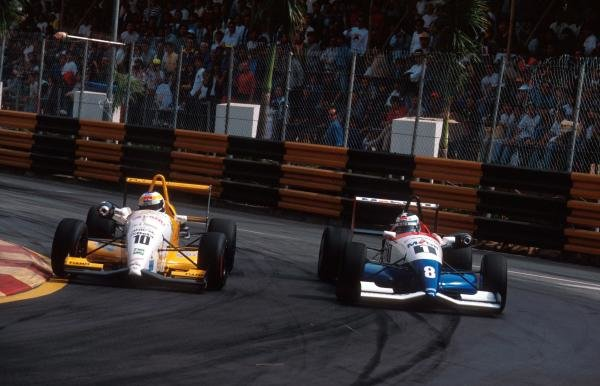 Giancarlo Fisichella (ITA) Dallara 394-Opel (left) took pole position but crashed out of the race whilst leading.