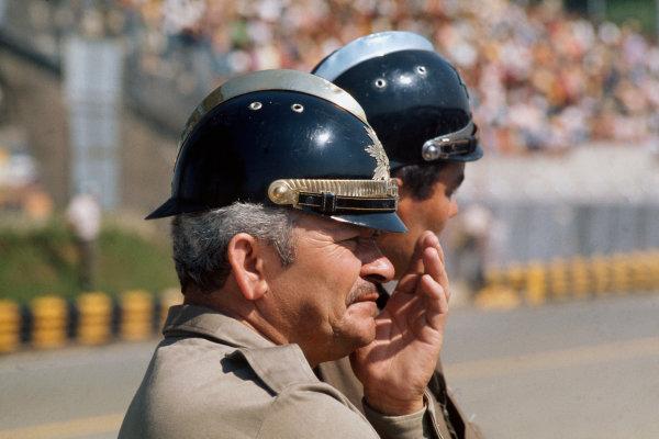 1974 Brazilian Grand Prix  Interlagos, Sao Paulo, Brazil. 25 - 27 January 1974.  Police in the pits.  Ref: 74BRA14. World Copyright: LAT Photographic