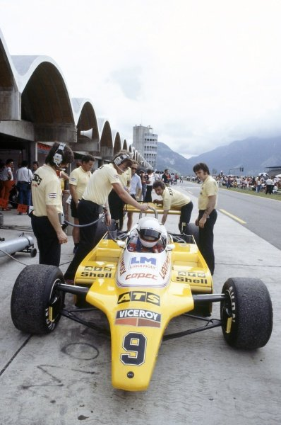 1982 Brazilian Grand Prix.Rio de Janeiro, Brazil. 19-21 March 1982.Manfred Winkelhock (ATS D5-Ford Cosworth), 5th position.World Copyright: LAT PhotographicRef: 35mm transparency 82BRA02