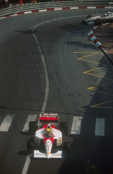 1991 Monaco Grand Prix.Monte Carlo, Monaco.26-28 April 1991.Ayrton Senna (McLaren MP4/6 Honda) 1st position.Ref-91 MON 13.World Copyright - LAT Photographic
