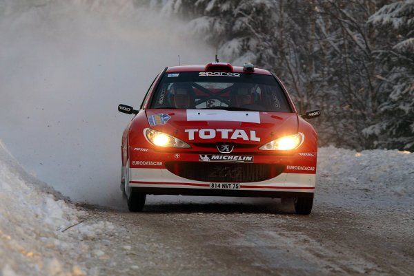 2003 FIA World Rally Championship. Karlstad, Sweden. Rd2.6-9 February 2003.Harri Rovanpera/Risto Pietilainen (Peugeot 206 WRC). World Copyright: McKlein/LAT Photographic