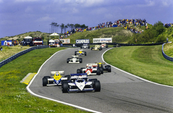 Nelson Piquet, Brabham BT54 BMW, leads Keke Rosberg, Williams FW10 Honda, Alain Prost, McLaren MP4-2B TAG, Ayrton Senna, Lotus 97T Renault, Teo Fabi, Toleman TG185 Hart and Nigel Mansell, Williams FW10 Honda.